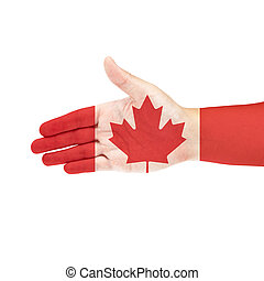Canada flag on hand isolate on white background