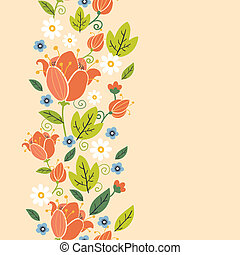 Colorful spring tulips vertical seamless pattern border