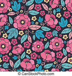 Night Kimono Blossom Seamless Pattern Background - Vector...