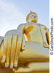 The Big Buddha in thailand temple.