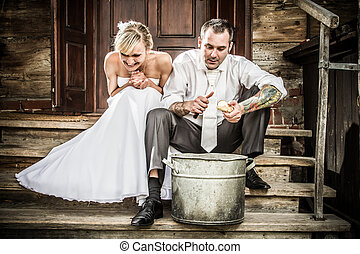 Young couple on the old-fashioned porch