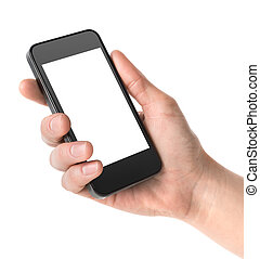 Smart phone in hand - Mobile phone in hand isolated on white...