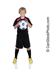 Ready for playing soccer - Preteen with a uniform for play...