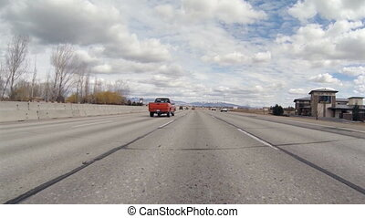 Driving Plate POV - Boise Freeway 1 - Low angle driving POV...