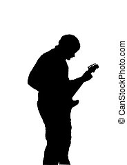 Silhouette of guitarist - Black silhouette of a playingl...