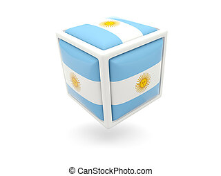 Flag of argentina. Cube icon