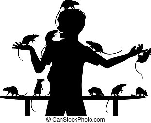 Rat boy - Editable vector silhouettes of a young boy and his...