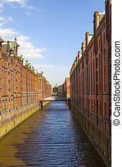 Speicherstadt, large warehouse district of Hamburg, Germany