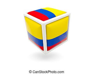 Flag of colombia. Cube icon - Cube icon of flag of colombia...