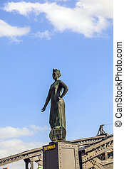 statue of Hammonia at the Brooks Bridge of Hamburg - statue...