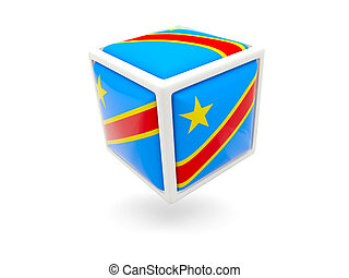 Flag of democratic republic of the congo. Cube icon - Cube...