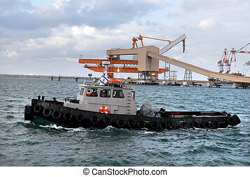 Port of Ashdod - Israel - ASHDOD - FEB 03:Tugboat in Ashdod...