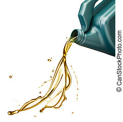 engine oil splash - pouring engine oil from its plastic...