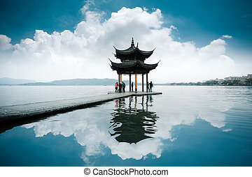 chinese ancient pavilion on the west lake in hangzhou