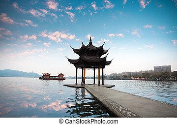 Hangzhou, Pavilhão, pôr do sol, brilho