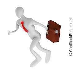 3dbusinessman running with briefcase - 3d businessman...