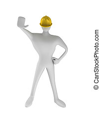 3d construction worker with stop gesture