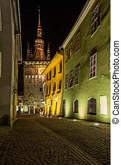 Sighisoara Medieval City, Romania photo taken in night time