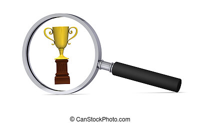 Golden cup with magnifying glass isolated on the white background