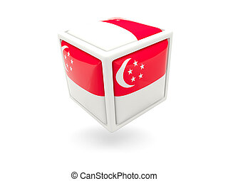 Flag of singapore. Cube icon - Cube icon of flag of...