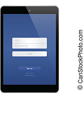 Mini Business Tablet With Log In To Social Website