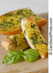 Basil Garlic Bread - Basil garlic bread on a cutting board