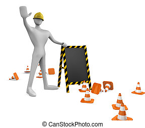3d construction worker with traffic cones and empty board