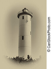 Sepia Daylight Lighthouse Close-up - Sepia Close-up of a...