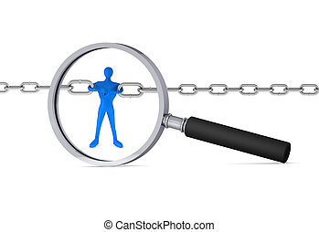 3d man holding a chain together in the magnifier 3d icon