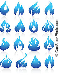 Fire flames blue, set icons, vector illustration