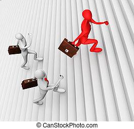 3d men climbing the ladder