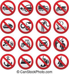 Prohibited symbols, vector illustration