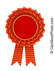 3d illustration of red award over white background