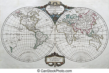 original antique world map by Vaugondy , 1795