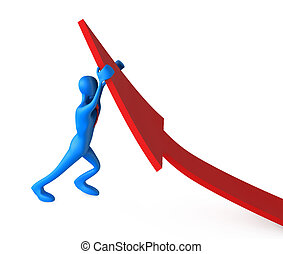 3d man turning the arrow on the upside