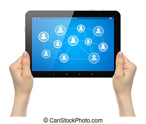 Woman hands holding tablet PC with social media illustration on white background