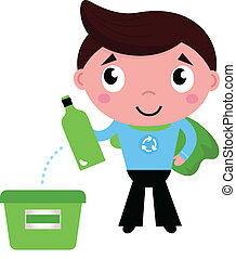 Little recycle super hero recycling garbage isolated on...