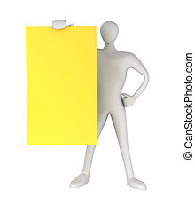 3d person with blank yellow card