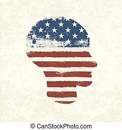 Grunge american flag themed head symbol. Vector, EPS10