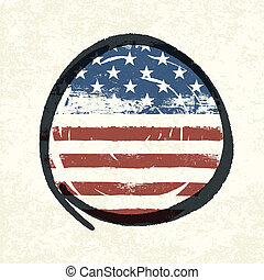 Grunge american flag themed button american flag. Vector, EPS10