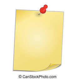 Yellow paper with pin on white background vector...