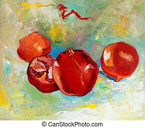 Pomegranates - Original oil painting of tasty pomegranate...