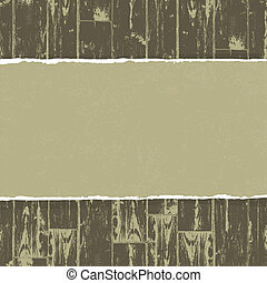 Torn paper on wooden background. Vector, EPS10