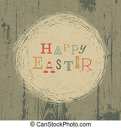 Happy easter vintage greeting card with nest symbol. Vector, EPS10