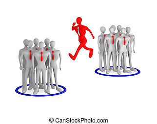 3d man jumping from one team to another