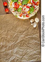 Close-up of the menu background for pizzerias No 1
