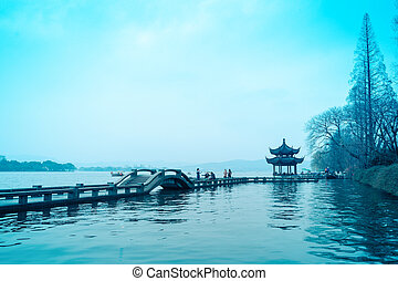 the beautiful west lake in hangzhou,China