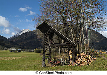 Austria, Carinthia - Austria, barn with equipment for...