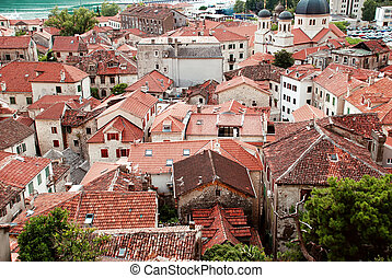 Red roofs - red roof od old town Kotor by Adriatic sea in...