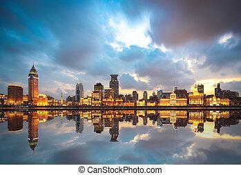 beautiful huangpu river at dusk in the bund shanghai